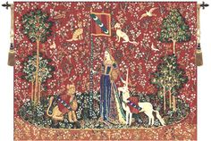 "Tapestries - Touch is one of the six european tapestries in the ""Lady and the Unicorn"" series. This tapestry represents the sense of touch. The lady stands with one hand tou"