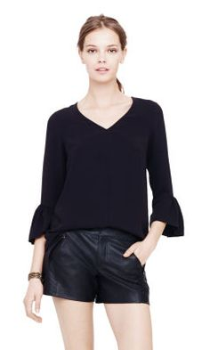 Dax Crepe Top - Club Monaco Long Sleeve - Club Monaco Crepe Top, Leather  Shorts d62c60469db
