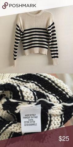 Cropped striped sweater 30% OFF BUNDLES OF 2 OR MORE.  cream white and black striped long sleeve cropped sweater. Brandy Melville. One size fits laptop. Has made in Italy tag. Never worn.   I do not trade nor sell on other apps. Unfortunately I'm also unable to model my items. I'm a full time college student and don't have the time to do so. Please also understand if I'm a bit slow to respond to messages and provide measurements for the above reason as well :) Brandy Melville Sweaters