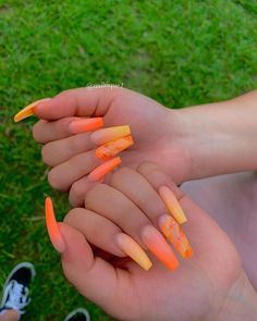 Getting to know beauty sleep Orange Acrylic Nails, Summer Acrylic Nails, Best Acrylic Nails, Pastel Nails, Red Orange Nails, Square Acrylic Nails, Aycrlic Nails, Bling Nails, Coffin Nails