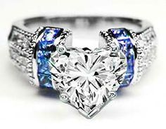 Heart Shape Diamond Engagement Ring Square Blue Sapphire Band in 14K White Gold Chg that to pink sapphire please