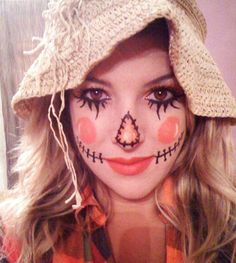 Diy quick and easy scarecrow, use old straw hat , add facial features with black eyeliner #Womens #Halloween #Costumes