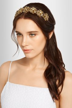 Jennifer Behr | Contessa Swarovski crystal-embellished gold-plated headband | NET-A-PORTER.COM