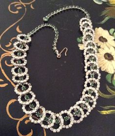 Art Deco Green Glass Necklace Silver Tone Vintage by OurBoudoir