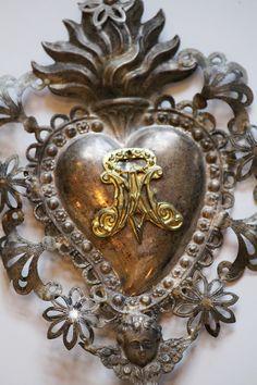 Rare French Antique Sterling Silver Ex Voto w/Cherub Vintage Silver, Antique Silver, Antique Jewelry, Beaded Beads, Jesus E Maria, Vintage Interior Design, I Love Heart, Arte Popular, Sacred Art