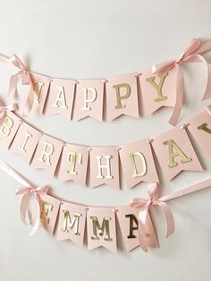 Blush Rose Gold Happy Birthday Banner Personalized Girl 1st
