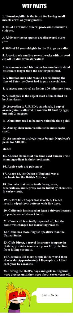 25 Facts. Some of them are a little eehhh but most of them were fine so I pinned it.