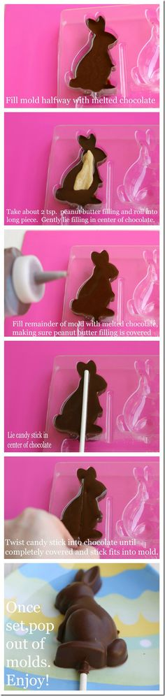 How to Make a Peanut Butter-Filled Chocolate Bunny Pop for Easter- tastes better than a Reese's Peanut Butter Cup!  {from 2 Sisters 2 Cities}