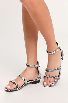 a762821fae5 Cute Black and White Snake Sandals - Vegan Leather Sandals Grey Sandals