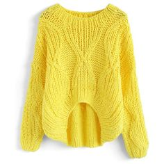 Chicwish Fresh Me Up Hi-Lo Knit Sweater in Yellow ($70) ❤ liked on Polyvore featuring tops, sweaters, yellow, yellow knit sweater, chicwish tops, yellow knit top, knit sweater and yellow sweater