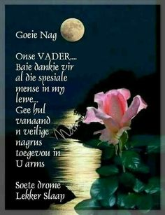 Greetings For The Day, Evening Greetings, Good Night Wishes, Good Night Quotes, Baie Dankie, Afrikaanse Quotes, Goeie Nag, Christian Messages, Prayer Board