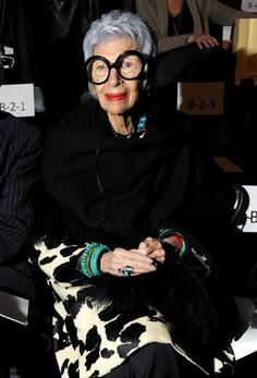 Trendsetter: Owl-eyed fashion icon Iris Apfel gets a seat of honor in the front row at the Joanna Mastroianni Fall 2012 show during Mercedes-Benz Fashion Week at Lincoln Center in New York City. She may be 90, but Apfel's not slowing down: This season she released a new make-up line from MAC, and also acted as Mastroianni's muse for her fall collection.