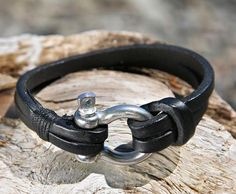 Black Leather Bracelet with a Nautical Grade Omega Shackle Clasp
