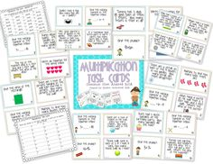 Set of 32 multiplication task cards aligned with the 3rd Grade Common Core Math Standards.