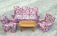 Puppenhaus Couchgarnitur Sofa, Sessel, Tisch Flowers Möbel Wohnzimmer Miniatur 1:12