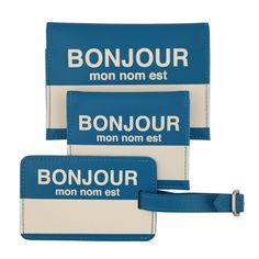 Bonjour Travel Set Blue by FLIGHT 001- You're stoked about your long awaited trip to Paris and you're already brushing up on your French. Show off your linguistic prowess while protecting your travel assets. The Bonjour Travel Set from FLIGHT 001 includes matching passport cover, card case, and luggage tag. These items let you announce your arrival in the native tongue, while proclaiming your ownership via this universally recognized name tag design.