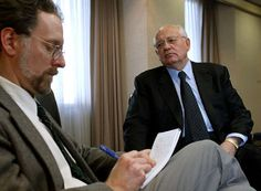 Interviewing Mikhail Gorbachev as a reporter for the Omaha World-Herald.
