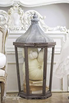 Lanterns do not only have to be for candles! Join the Fall Home Tour 2015 | Shabbyfufu