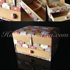 Large Cotton & Silk Jewellery Box With Drawer