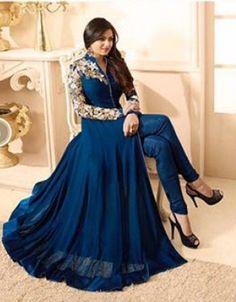 RapidDukan Semi-Stitched Navy Blue Color Anarkali Salwar Suit Dupatta Material||SF737 - Salwar Suits - Ethnic - Women