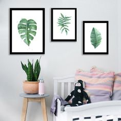 [Visit to Buy] Watercolor Tropical Plant leaves Canvas Art Print Poster , Nordic Green Plant leaf rural Wall Pictures for Home Decoration Wall Painting Decor, Wall Decor, Room Decor, Home Pictures, Wall Pictures, Pastel Interior, Diy Canvas, Tropical Plants, Canvas Art Prints