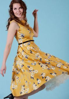 Yellow Floral Hepburn, flared dress by Lady Vintage.   Buy now at www.misswindyshop.com