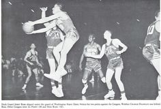 Oregon basketball player Jerry Ross attempts a shot vs. Washington state 1956 at McArthur Court. From the 1956 Oregana (University of Oregon yearbook). www.CampusAttic.com