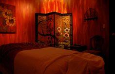 Red massage room.
