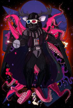 Fencing Darth Vader wearing 3D glasses w/ an Octopus