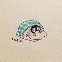 """1,253 """"Μου αρέσει!"""", 9 σχόλια - もじじ (@mojiji2014) στο Instagram: """"おふとんが ぼくを はなさないんだっぺ #ぺんぎん#イラスト#絵"""""""