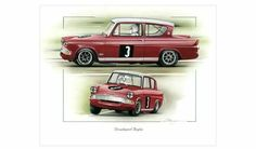 RALPH BROAD BROADSPEED FORD ANGLIA STUNNING PRINT CHRIS DUGGAN MOTORING MAN British F1, Mclaren Formula 1, Ford Anglia, Car Racer, Ford Capri, Old Fords, Ford Escort, New Print, Limited Edition Prints