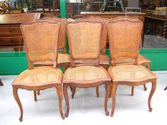 6 sedie provenzali in faggio e in paglia di Vienna