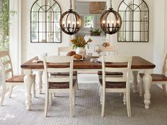 two-tone marsilona dining room table view 1 - i like the wood on