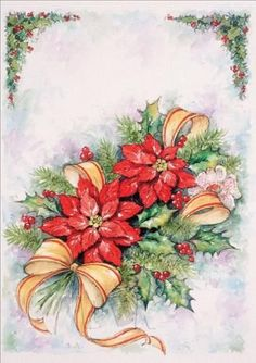 Indoor and Outdoor Christmas Decorations Christmas Flowers, Christmas Cards To Make, Christmas Gifts For Women, Vintage Christmas Cards, Christmas Greeting Cards, Christmas Art, Christmas Greetings, Vintage Postcards, Vintage Cards