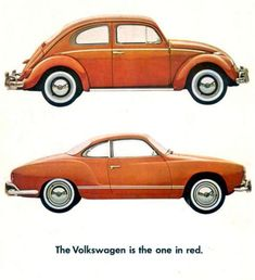 """The Volkswagen is the one in red."" ad"