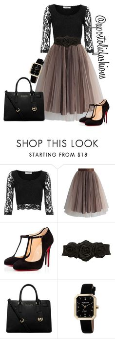 """Apostolic Fashions #1350"" by apostolicfashions on Polyvore featuring Pull&Bear, Chicwish, Christian Louboutin, Miss Selfridge, MICHAEL Michael Kors and Akribos XXIV"