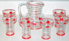 yeoldjewelryshoppe's booth » Dunbar Glass 7 Juice Set With Red Apples, Pitcher & Tumblers 1940's, 7 Pieces  gorgeous set