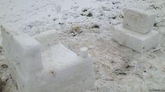 Fun in the snow in Flint, Flintshire
