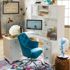 Neutral Home Office With Partners Desk Office