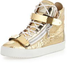 #ad - Giuseppe Zanotti Men's Foil Metallic Leather High-Top Sneaker