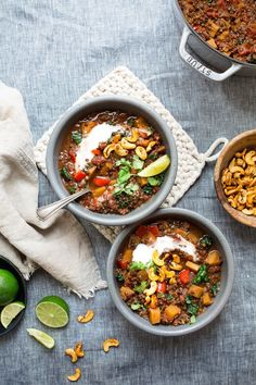 Butternut Squash, Beluga Lentil & Kale Chili + Smoky Cashews (Vegan) by The Green Life