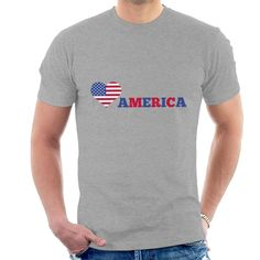 Exclusive Love America Stars And Stripes design on a range of apparel and accessories. Slogan Design, Funny Slogans, Make Ready, Stripes Design, Mens Tees, Heather Grey, Size Chart, America, Stars