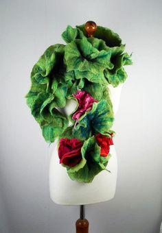 Green Felted Scarf  Wrap Art Shawl Noir Scarves Felt Nunofelt Nuno felt Silk multicolor shawl Fiber Art. $159.00, via Etsy.