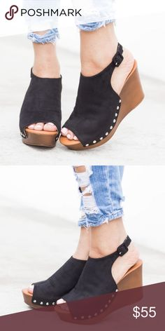 """AMELIA Peep Toe Booties faux suede material and feature a peep toe, cushioned insoles, studded detailing, and approx. a 3.5"""" wooden styled wedge.  TRUE TO SIZE Shoes Wedges"""