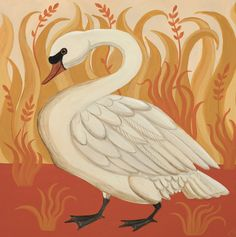 'Sanguine Swan' By Painter Catriona Hall. Blank Art Cards By Green Pebble. www.greenpebble.co.uk