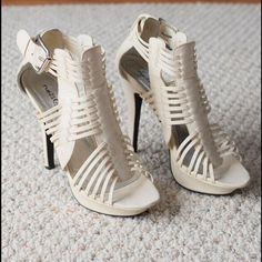 """White shoes White strapy heel 4.5"""" heel Rue 21 Shoes Heels"""