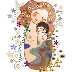 Camisetas Kokeshi Maternidad estilo Klimt- Pendientera