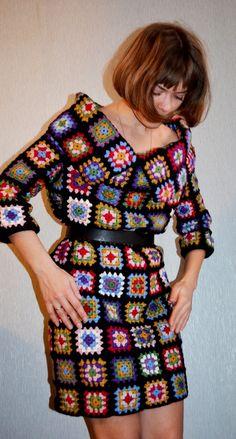 "mahma789: ""Knitted dress ""granny square"" by gorick http://flic.kr/p/eaA1aA """