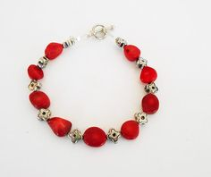 Red beaded, wire wrapped bracelet, Once upon a time, queen of hearts, Fairytale jewelry, garnet chip bracelet, ouat jewelry