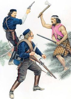 Forest Rangers,1860s: 1:Major von Tempsky.2:Private,Forest Rangers.3:Maori toa,late 1860s.